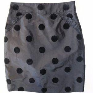 J.CREW Black Taffeta Polka Dot Pencil Skirt